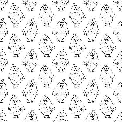 birds seamless pattern hand drawn doodle. vector, minimalism. chickens, cute baby print, wallpaper, textiles, decor.