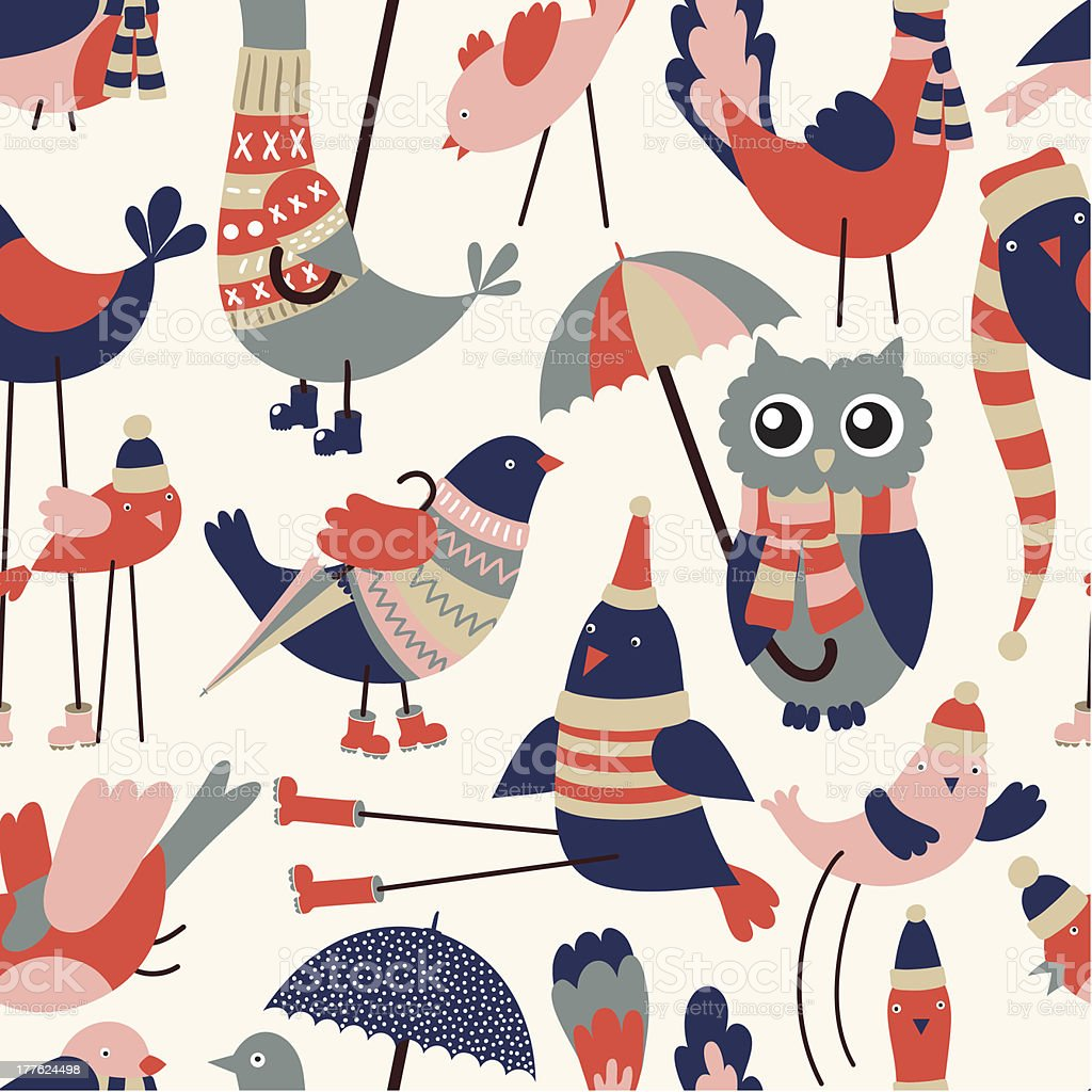 Birds seamless pattern royalty-free stock vector art