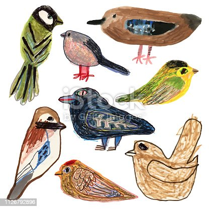 Hand drawn/painted set of birds