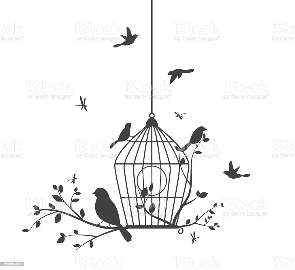 Birds silhouette with tree and birdcages vector art illustration