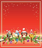 Four happy birds sittig on a fir branch decorated with Christmas tree balls. They are making music and singing Christmas carols. Fully editable and all labeled in layers. + Download includes a high resolution jpeg (5160x 5900 px)