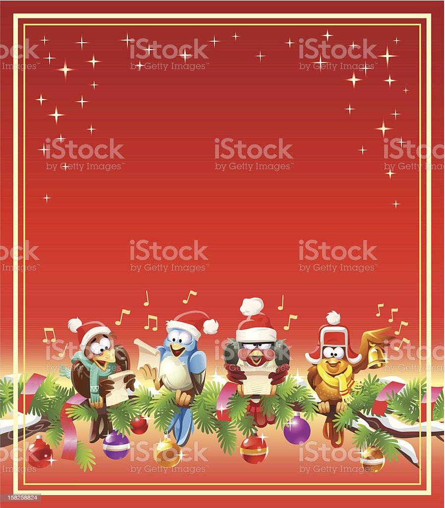 Birds Singing Christmas Carols vector art illustration