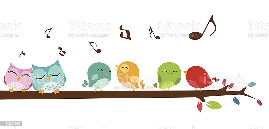 Birds singing on the branch vector art illustration