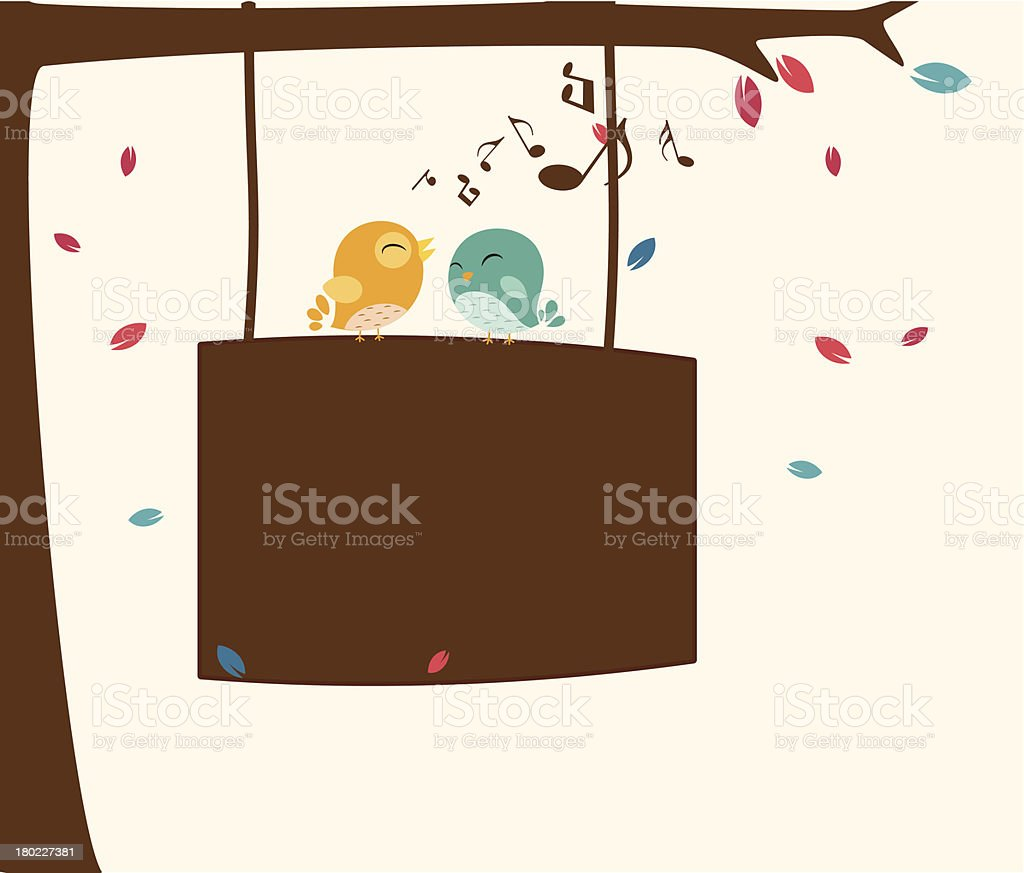 Birds singing on the branch with sign royalty-free stock vector art