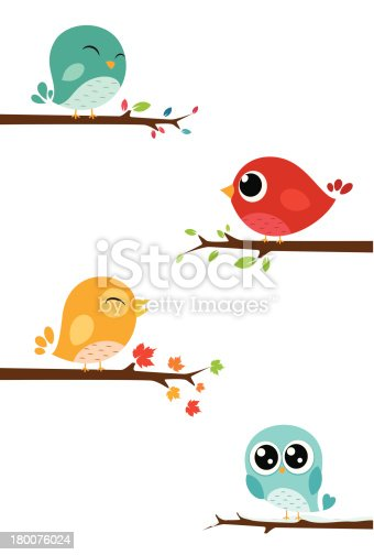 Vector Illustration of Birds sitting on branches