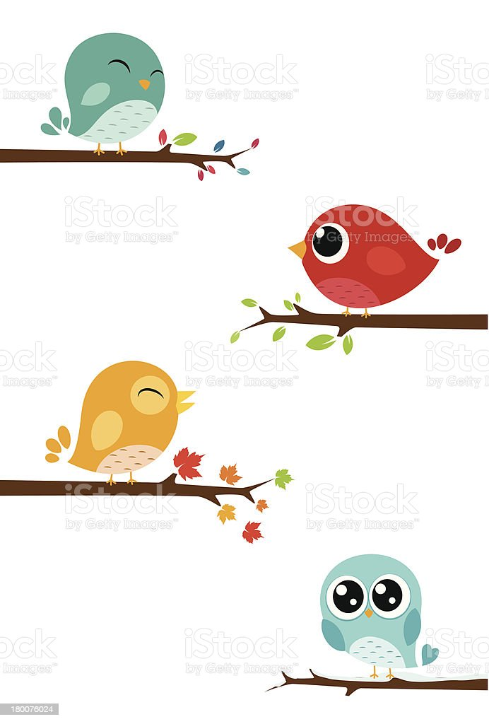 Birds sitting on branches vector art illustration