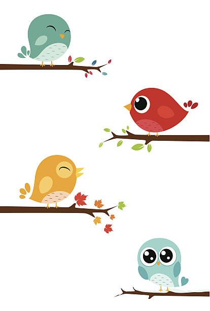 birds sitting on branches - birds stock illustrations