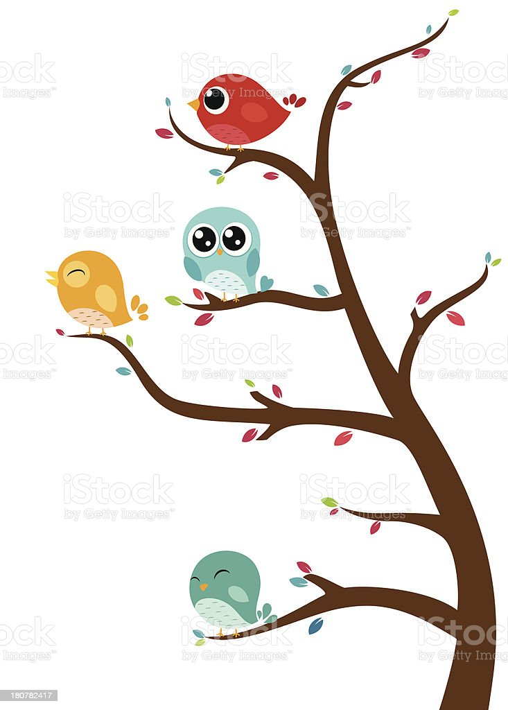 Birds sitting on tree royalty-free birds sitting on tree stock vector art & more images of abstract