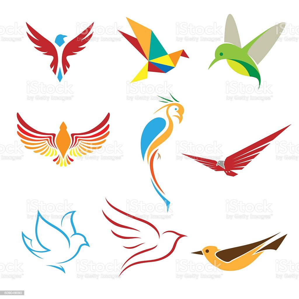 Birds symbols vector art illustration