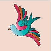 birds tattoo isolated icon design
