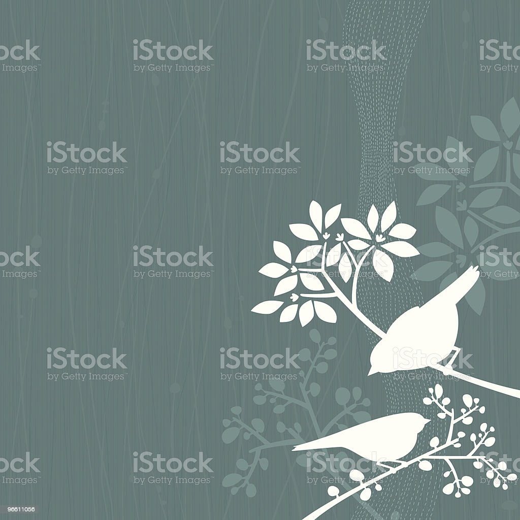 Birds Teal Background - Royalty-free Afbeelding vectorkunst