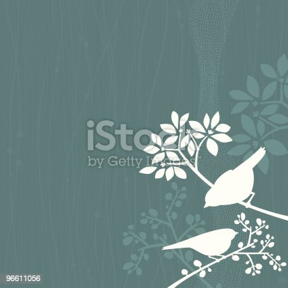 Teal background with white silhouettes of two birds perching in tree branches.