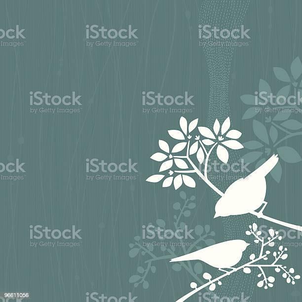 Birds Бирюзовый Фон — стоковая векторная графика и другие изображения на тему Без людей