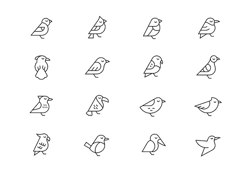 Birds thin line vector icons. Editable stroke