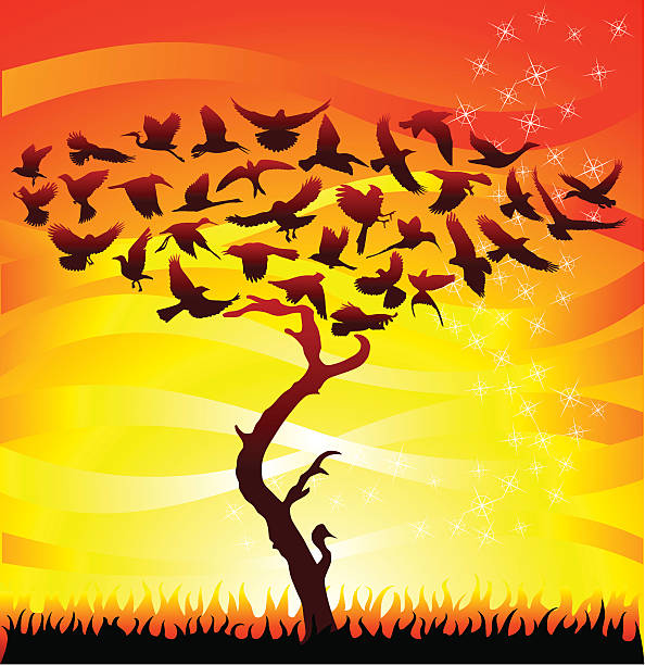 Birds Tree at Sunrise vector art illustration