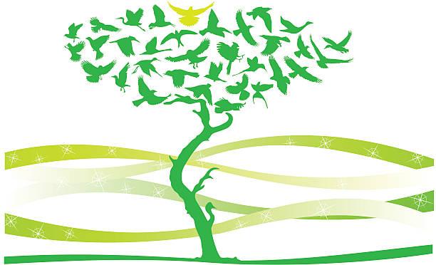 birds tree - byteandpixel stock illustrations