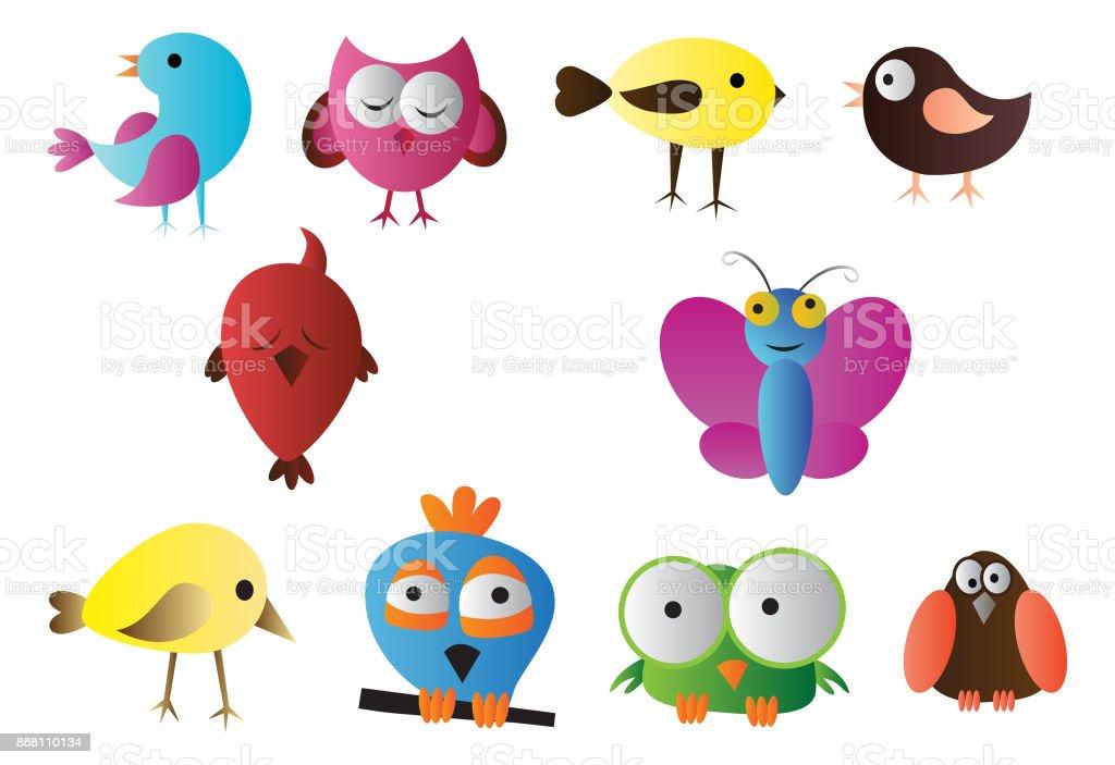Aves vector clipart, pássaros mão desenhada doodle - ilustração de arte em vetor