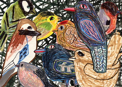 Hand drawn/painted birds in trees. Gathering. Togetherness