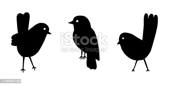 Cartoon style vector illustration of balck and white bird set template. Great design elements for sticker, card, print, poster, other design. Unique and fun drawing icon isolated on white background