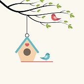 Birds on branch of tree and birdhouse. Vector illustration on light background.