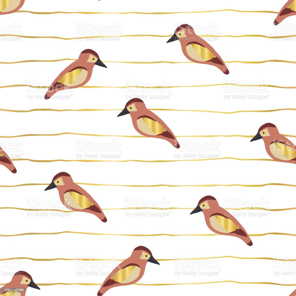 Birds with gold foil wings on lines vector pattern vector art illustration