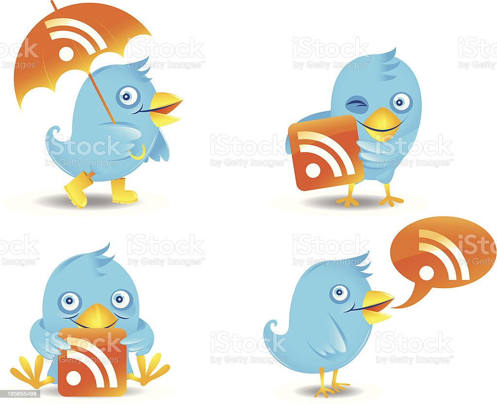 Birds with RSS icons royalty-free stock vector art