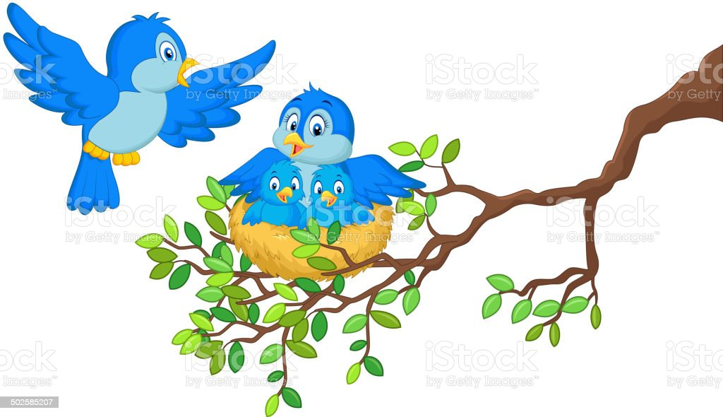Birds with two babies in the nest vector art illustration