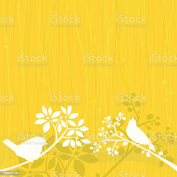 Birds Yellow Background Stock Illustration - Download Image Now