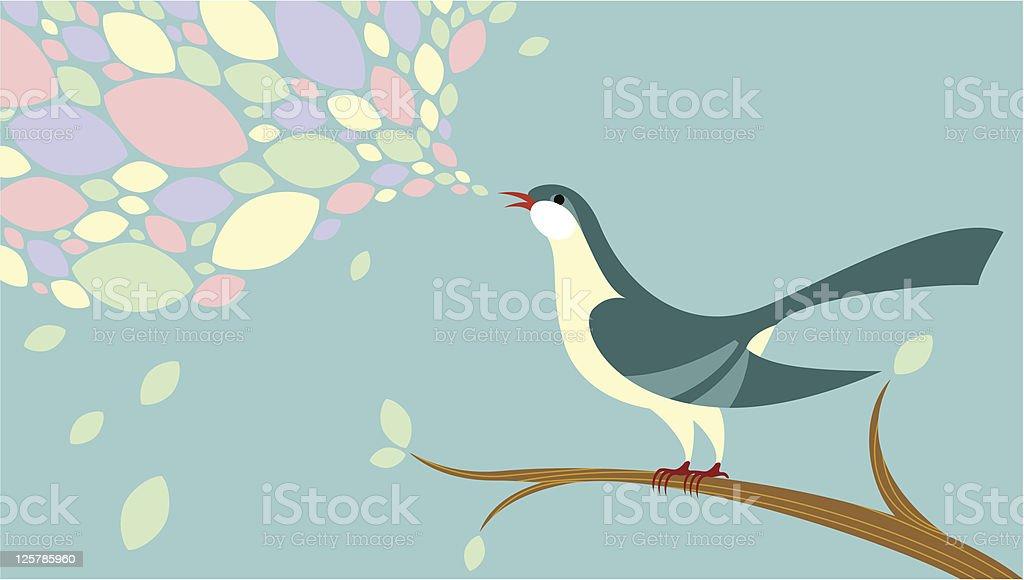 Birdsong vector art illustration