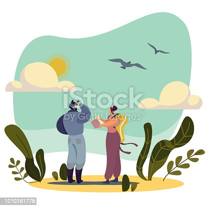 Birdwatching people cartoon characters in nature, vector illustration. Man and woman watching birds, exploring wildlife. Abstract landscape, flying bird, person with binoculars. Active lifestyle hobby