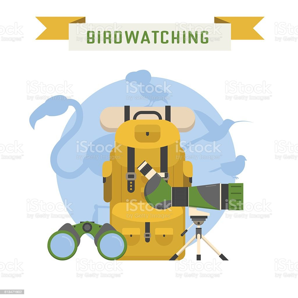 Birdwatching Tourism Concept Vector Illustration vector art illustration
