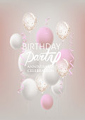 Birhday party banner with levitating serpentine and air balloons. Vector illustration