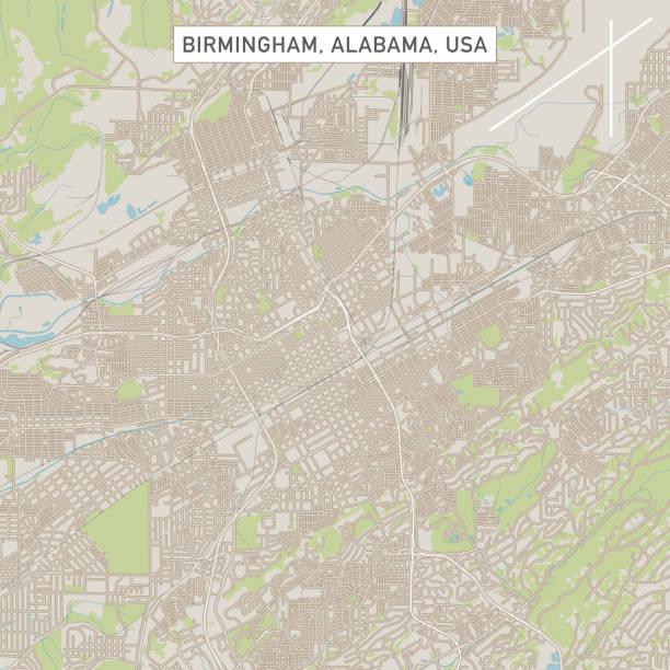 birmingham alabama us city street map - alabama stock illustrations