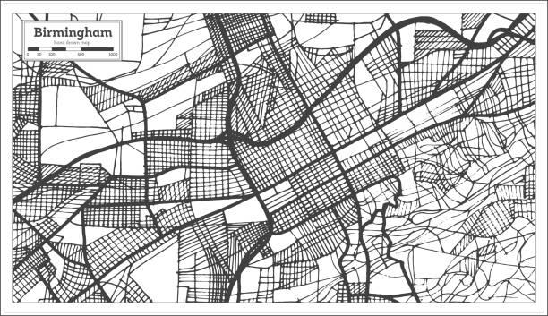 birmingham alabama usa city map in retro style. outline map. - alabama stock illustrations