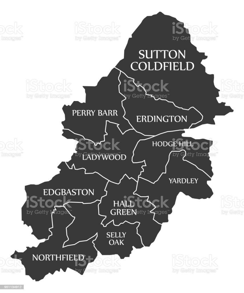 Birmingham Karte.Birmingham City Karte England Uk Schwarz Abbildung Gekennzeichnet
