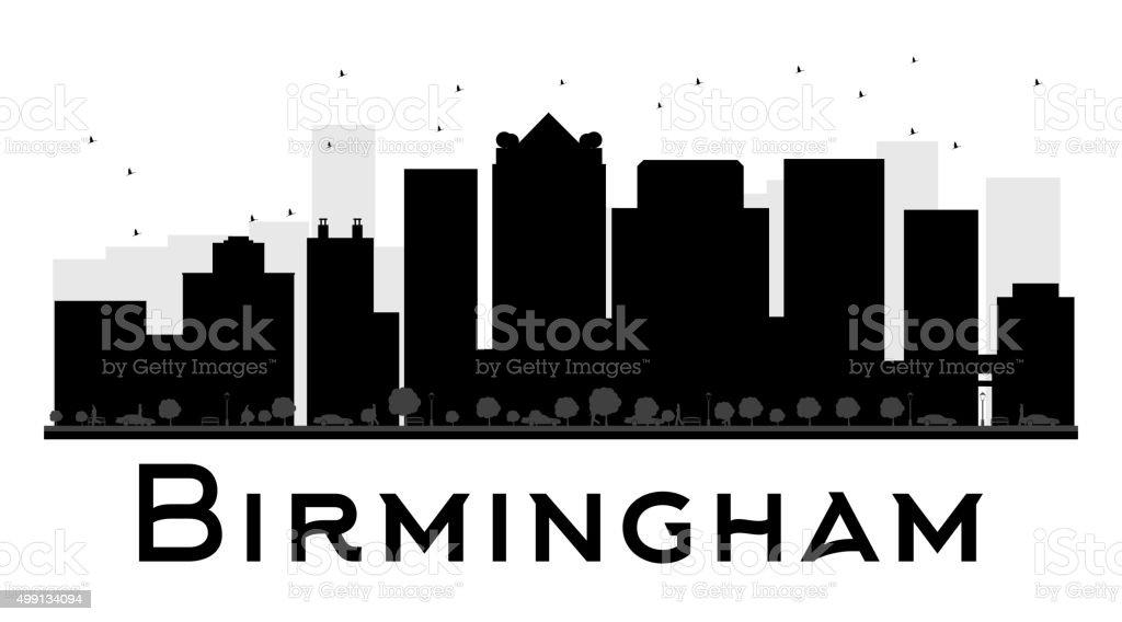 Birmingham City skyline black and white silhouette vector art illustration