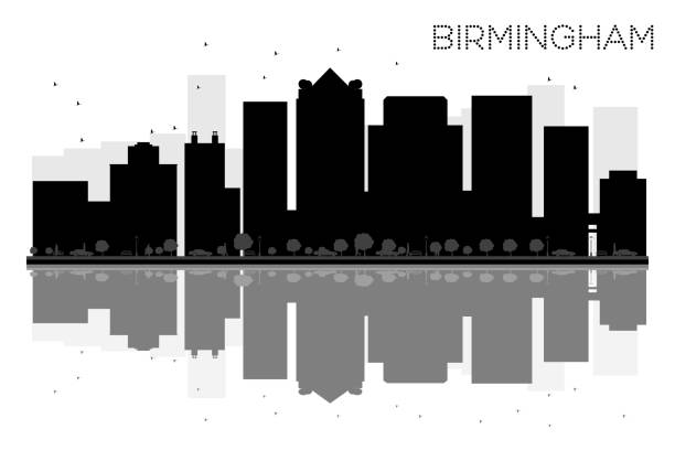 Birmingham City skyline black and white silhouette with reflections. vector art illustration
