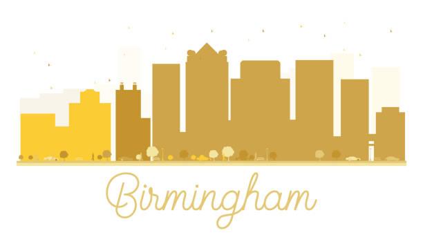 Birmingham City skyline golden silhouette. vector art illustration