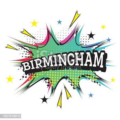 Birmingham. Comic Text in Pop Art Style. Vector Illustration.