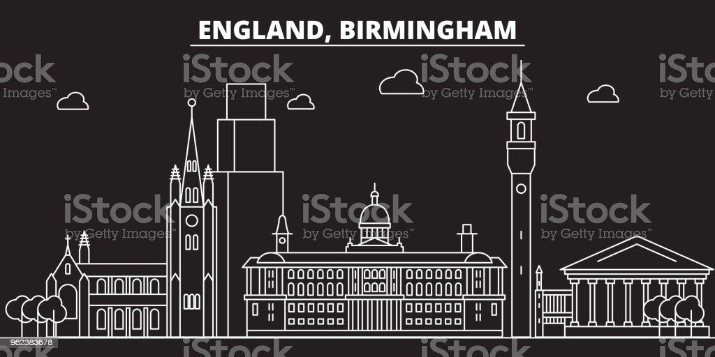 Birmingham silhouette skyline. Great Britain - Birmingham vector city, british linear architecture. Birmingham travel illustration, outline landmarks. Great Britain flat icon, british line banner vector art illustration