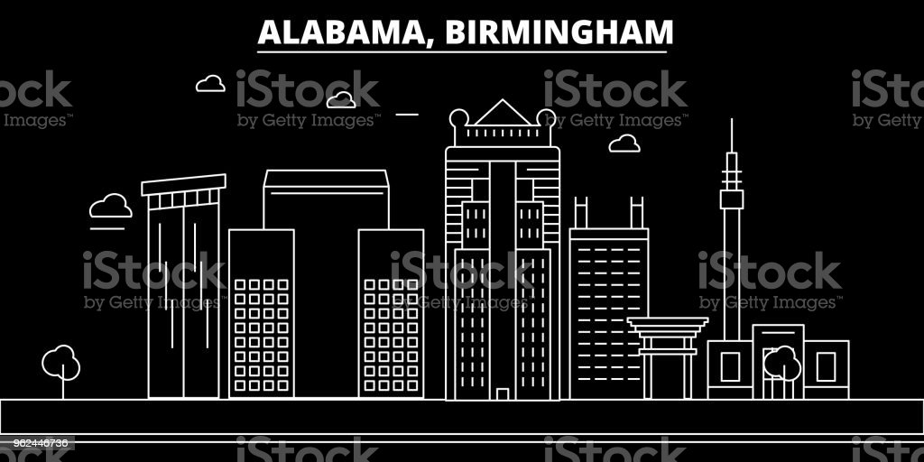 Birmingham silhouette skyline. USA - Birmingham vector city, american linear architecture, buildings. Birmingham travel illustration, outline landmarks. USA flat icon, american line banner vector art illustration