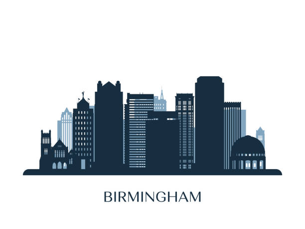 birmingham skyline, monochrome silhouette. vector illustration. - reiseziele grafiken stock-grafiken, -clipart, -cartoons und -symbole