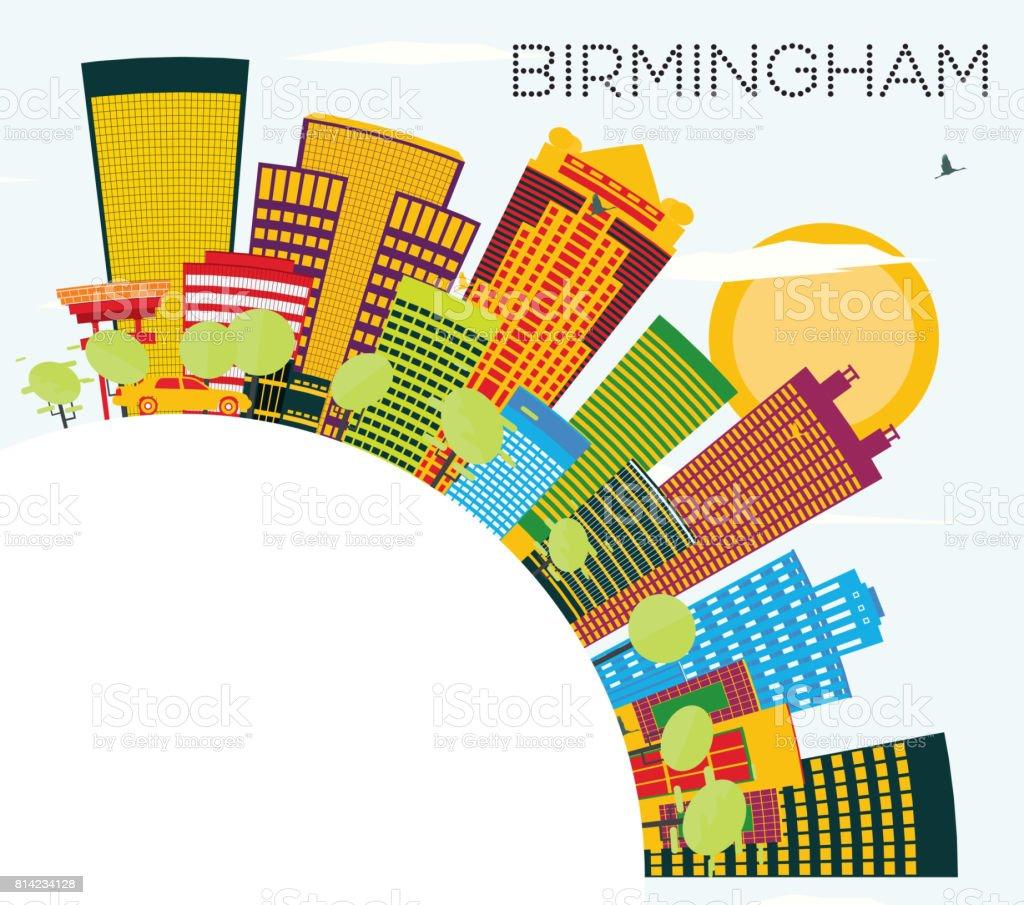 Birmingham Skyline with Color Buildings, Blue Sky and Copy Space. vector art illustration