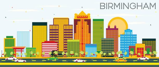 Birmingham Skyline with Color Buildings vector art illustration