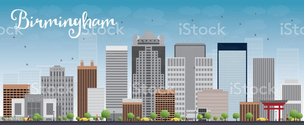 Birmingham (Alabama) Skyline with Grey Buildings and Blue Sky vector art illustration