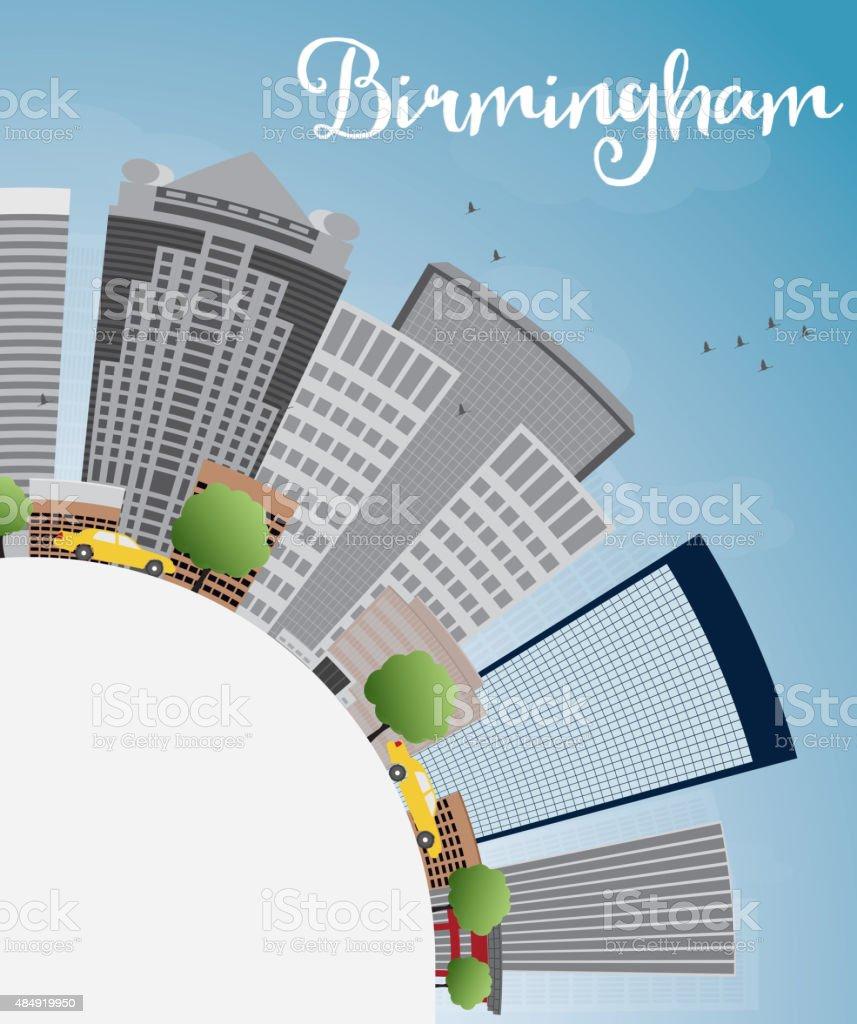 Birmingham (Alabama) Skyline with Grey Buildings and copy space vector art illustration