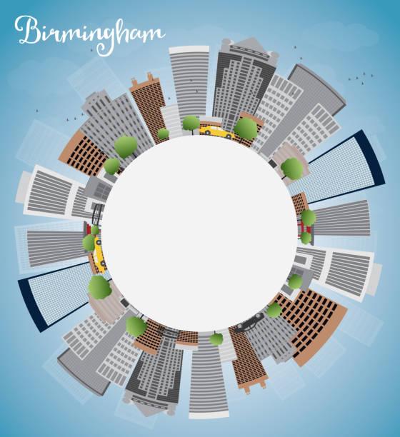 Birmingham (Alabama) Skyline with Grey Buildings, Blue Sky and c vector art illustration
