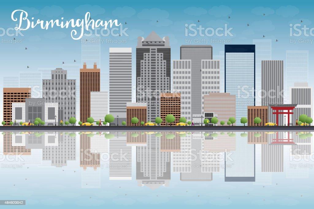 Birmingham (Alabama) Skyline with Grey Buildings, Blue Sky and r vector art illustration