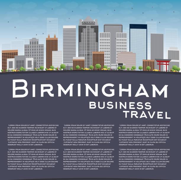 Birmingham (Alabama) Skyline with Grey Buildings vector art illustration