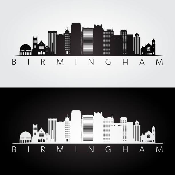 birmingham usa skyline i zabytków sylwetka, czarno-biały design, ilustracja wektorowa. - alabama stock illustrations
